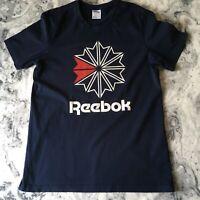 Reebok Classics Mens Navy Blue Big Logo Graphic Tee TShirt Tee Size Large L