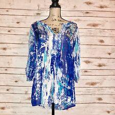 Soft Surrondings Womens Size M V Neck Embellished Semi Sheer Tunic