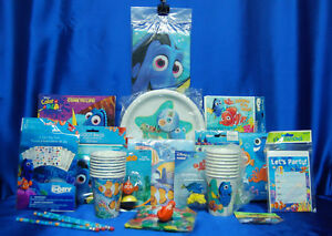 Nemo Dory Party Set # 20 Plates Napkins Cups Tablecover Invites Clown Fish