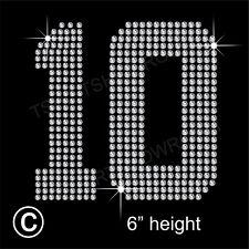 """"""" 10"""" o un """"dos Jersey de los números de diamantes de imitación de transferencia de la revisión de hierro en + Regalo Gratis"""