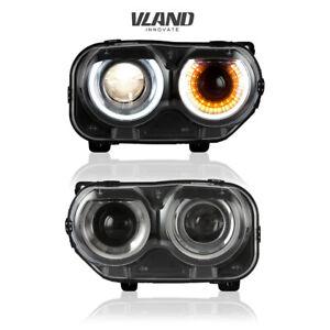 VLAND LED Headlights Fit Dodge Challenger SE R/T 2015-2019 LED DRL Headlight