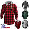 Mens Brawny Buffalo Plaid Flannel Shirt Long Sleeves Button-Front Check Hoody