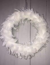 Luxury White Feather Christmas Wreath White Tree Door Festive 35 x 45 cm
