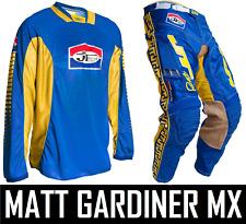 JT Racing Classick Motocross MX Kit Pantalones y Jersey Amarillo Azul Retro Pro