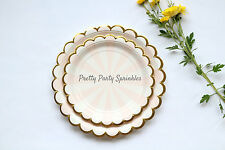 16 Dessert Plates Pink, Gold Foil Paper Plates, Girl Baby Shower, Birthday Decor
