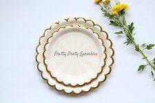 8 Dessert Plates Pink and Gold Foil Paper Plates, Bridal Shower, Birthday Decor
