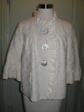 Steampunk J. Crew 6 Ivory Tapestry Cotton Short Swing Jacket Bell Sleeves