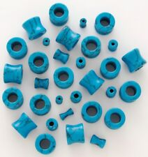 1 Pair 8g Organic Turquoise Blue Stone Tunnels Eyelets Plugs Ear Gauge 3mm