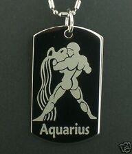 AQUARIUS zodiac horoscope star Dog Tag Pendant Necklace