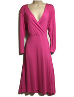 ARTIGIANO Women UK 20 Pink Dress Fit & Flare Jersey Stretch Elegant Classic NEW