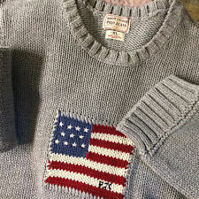 Vintage Womens Ralph Lauren Polo Heavy Thick Knit Big Logo Flag Sweater Shirt XL