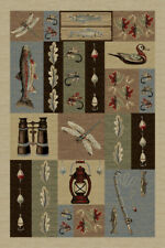 """8x10 Nature Ivory Lodge Fish Flies Hooks 6522 Area Rug - Approx 7' 10"""" x 10' 3"""""""