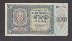 100 KUNA FINE- BANKNOTE FROM NAZI GOVERNMENT OF CROATIA 1941 PICK-2