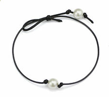 Fashion Women Black Leather Single Pearl Pendant Choker Collar Necklace Jewelry
