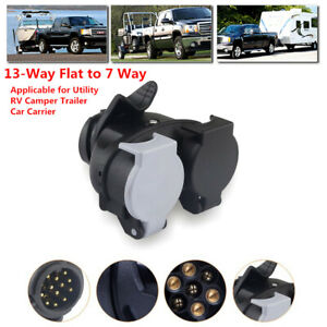 13Way Flat to 7Way Trailer Plug Socket Adapter RV Wiring Trailer Hitch Connector