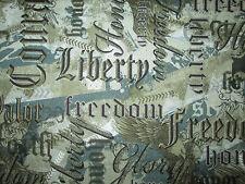 MILITARY USA WORDS LIBERTY COURAGE CAMO COTTON FABRIC FQ