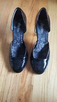 CHARLES by CHARLES DAVID Black Patent Leather Round Toe Heels Pump Shoes Sz 8.5