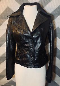 Patrizia Pepe Sz 42, M US BLack Leather Button Down Knit Trim Women's Jacket