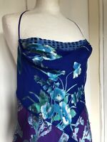 Monsoon Size 12 Purple Floral Cowl Neck Sexy Fitted Bias Cut Silk Blend Dress