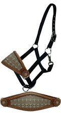 Showman Bronc Halter w/ TEAL Navajo Design NoseBand & Copper Stud NEW HORSE TACK