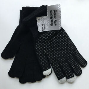 Mens Gloves 2 Pair Pack One Size Texting Tips  Blue/Gray or Black/Black Acrylic
