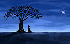 Framed Print - Buddha Sitting Under a Tree with Blue Night Sky (Picture Art)