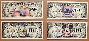 Disney 2005 Dollar $1,$5, $10, $50. Never used.50th anniversary A Series