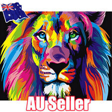 DIY Filling Oil Canvas Paint By Number Kit Multi-Colored Lion Animals Painting E