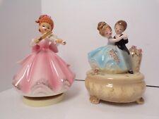 Vintage Porcelain Music Boxes Josef Originals Anniversary Couple + Violin Girl