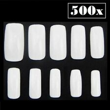 500Pcs Long French Coffin Shape Full Cover False Fake Nails Art Tip DIY (White)