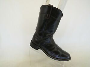 Dark Brown Leather Roper Cowboy Western Boots Mens Size 7.5 D