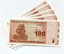 Zimbabwe $100 New Dollar UNC Banknote 2009 Super Rare P97 X 5 Piece Lot