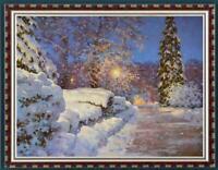 "Hand painted Original Oil Painting art landscape snow winter on canvas 30""x40"""