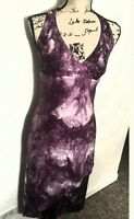Hourglass  Womens Halter Neck Dress Sz M Strerch Glitter Formal Purple Hue Multi