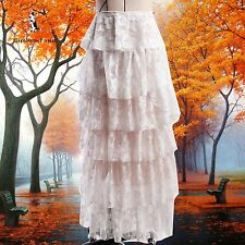 SHARON TANG Modest Apparel Long White Lace Layer Ruffle Skirt M ST123081008-10