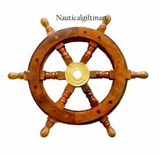"12""Nautical Wooden Ship Steering Wheel Pirate Decor Wood Brass Fishing Wall Boat"