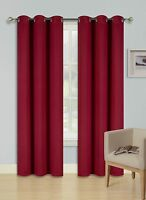 """2 PANEL SOLID  BURGUNDY THERMAL 100% BLACKOUT GROMMET WINDOW CURTAIN 84"""" L #68"""