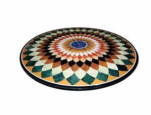 "36"" Marble Dining Center Table Top Handmade Semi Precious Stones Inlay"
