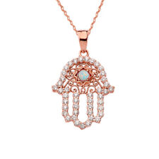 14k Rose Gold Chic Opal Hamsa Pendant Necklace
