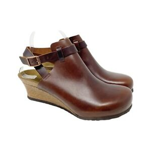 Birkenstock Papillio Esra Wedge Clog Brown Leather Size 40 Ankle Strap Comfort