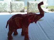 Red Vintage Sari Fabric Covered Paper Mache Elephant Scrupture Figurine