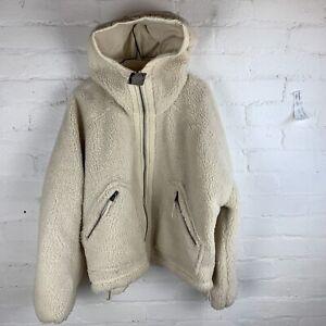 FREE PEOPLE Movement Mountain Air Sold Fleece Teddy Jacket Coat Cream MEDIUM