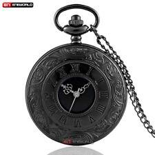 Vintage Black Roman Pocket Watch Quartz Hollow Chain Necklace Pendant Gift Retro
