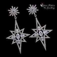 18K White Gold Filled AAA Grade CZ Luxury Snowflake Star Chandelier Earrings