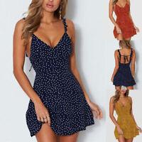Women's Boho Floral V Neck Party Evening Beach Short Mini Dress Summer Sundress