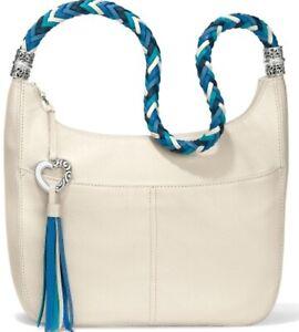 NWT Brighton BARBADOS ZIPTOP HOBO Bag White Pebbled Leather Blue Strap MSRP $295