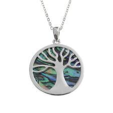 Beautiful TREE OF LIFE Inlaid Paua Shell Pendant & Chain. Tide Jewellery. Boxed.