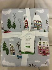 Pottery Barn Winter Village Organic Flannel Sheet Set King NWT Christmas