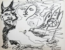 ABSTRACT SURREALIST NUDE WOMAN DEVIL INK DRAWING SIGNED