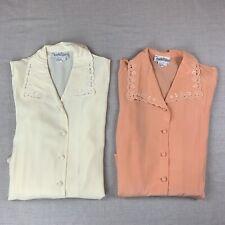 Vintage Diane Von Furstenberg Embroidered Silk Button Up Blouse Sz Lg - Lot of 2